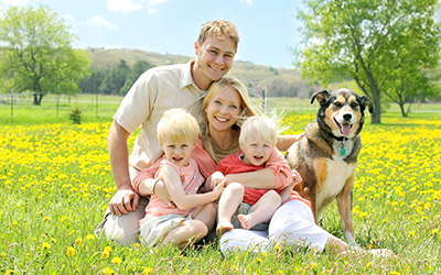 Family of 4 with a dog