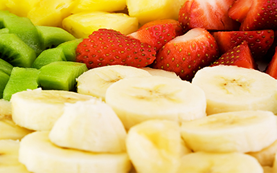 Bananas, strawberries and kiwis